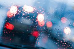 Driving in a rain and traffic jam Stock Photos