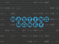 Money concept: Wasting Money on wall background - stock illustration
