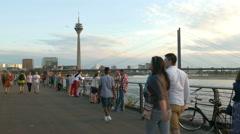 4K UHD Düsseldorf Dusseldorf Duesseldorf Rhine river promenade walking Stock Footage