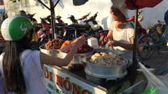 Sweet rice street seller woman Stock Footage