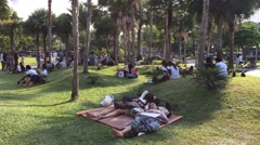 People rest in the park in a north of Bangkok city Stock Footage