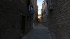Stock Video Footage of Clothes drying on a rope on a narrow street in Venice