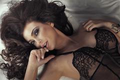 Closeup portrait of sensual brunette lady. - stock photo