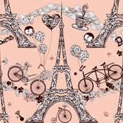 Paris Seamless Pattern - stock illustration