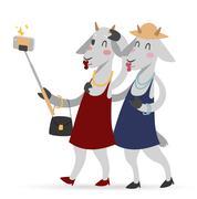 Selfie photo goat girls couple frinds vector portrait illustration on white Stock Illustration