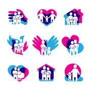 Stock Illustration of Family Logo Set