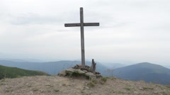 Wooden Cross on the top of the mountain in Ukraine. Stock Footage