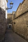 Stock Photo of Medieval neighborhood in Baeza, alleyway with stone arch, Jaen province, Anda