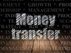 Stock Illustration of Finance concept: Money Transfer in grunge dark room