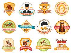Horse Sport Color Emblems Set - stock illustration