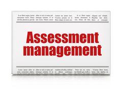Stock Illustration of Finance concept: newspaper headline Assessment Management