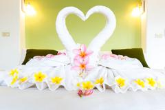 white towel decoration - stock photo