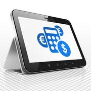 Business concept: Tablet Computer with Calculator on display - stock illustration