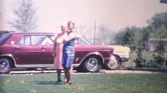 Grandmothers Visit Their Grand Daughter-1970 Vintage 8mm film Stock Footage