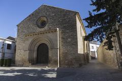 Romanesque church of Santa Cruz, Baeza, Province of Jaen, Andalusia, Spain Stock Photos