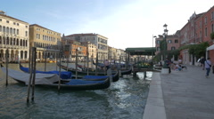 Wooden dock for gondolas on Grand Canal, Venice Stock Footage