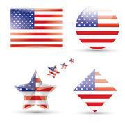 Vector - United States Flag Glossy icon Stock Illustration