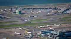 Great view of the Hong Kong international Airport, timelapse. Stock Footage