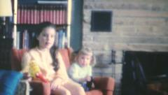 Cousins Visiting And Playing Together-1970 Vintage 8mm film Stock Footage