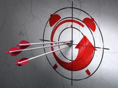 Timeline concept: arrows in Alarm Clock target on wall background Stock Illustration