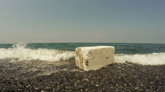 Waste on seafront Stock Footage