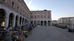Restaurant near an old building with arches in Venice Stock Footage