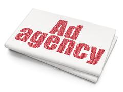 Stock Illustration of Marketing concept: Ad Agency on Blank Newspaper background