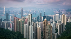 Hong Kong skyline. View from Victoria Peak. Stock Footage