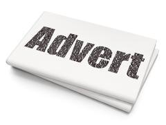 Advertising concept: Advert on Blank Newspaper background - stock illustration