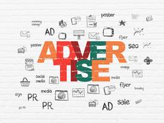 Marketing concept: Advertise on wall background Stock Illustration