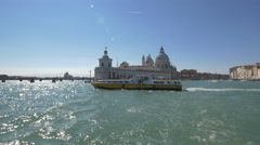 The Cathedral Santa Maria della Salute seen in the distance in Venice, Italy Stock Footage