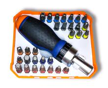 Orange and blue set of screwdriver with ratchet and various attachments isola Stock Photos