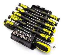Black and acid yellow screwdriver set in organizer box isolated on white - stock photo