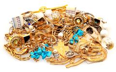 Mount of jewelery isolated on white filtered Stock Photos