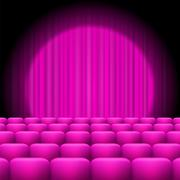 Pink  Curtains with Spotlight and Seats Piirros