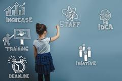 Teen girl turned back and wrote the word sketch icons set busine - stock photo