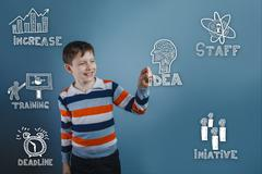 Teenage boy laughing and holding a finger sketch icons set busin - stock photo