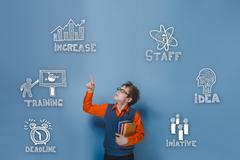 teenage boy raised his finger up sketch icons set business strat - stock photo