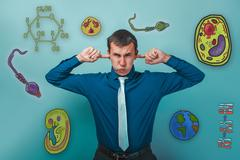 Male business style clothing put his fingers in his ears icons b - stock photo