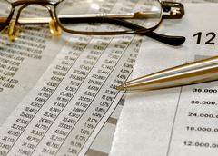 Close-Up Stock Market Reports - stock photo