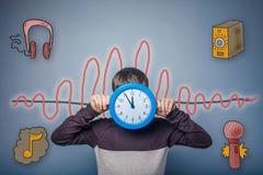 Teen boy closed his clock face sound wave music radio sketch sym Stock Photos