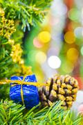 Christmas background with decorations on blur background Stock Photos