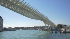 Railway bridge over the Venetian Lagoon, Venice Stock Footage