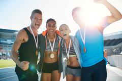 Group of athlete celebrating victory Stock Photos