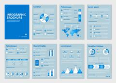 Blue business A4 brochures with infographic vector elements - stock illustration