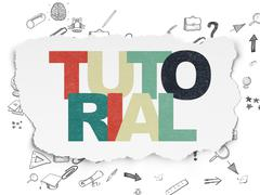 Stock Illustration of Education concept: Tutorial on Torn Paper background