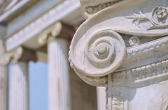 Close-Up Classic Marble Columns Stock Photos