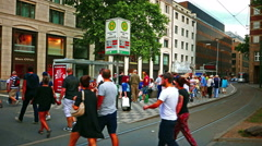 4K UHD Düsseldorf Dusseldorf Duesseldorf old town Traffic Heinrich-Hein-Allee Stock Footage
