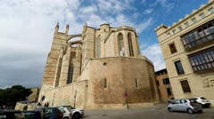 Gothic Roman Catholic Cathedral Santa Maria La Seu, in Palma de Mallorca, Spain Stock Footage