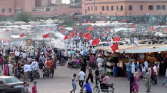 Morocco the market place in Marrakech at the Souk market Stock Footage